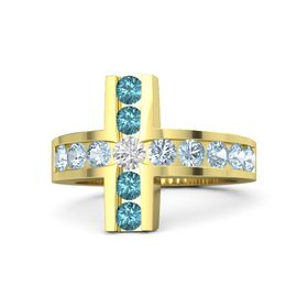 Round White Sapphire 14K Yellow Gold Ring with Aquamarine and London Blue Topaz