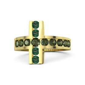 Round Green Tourmaline 14K Yellow Gold Ring with Green Tourmaline and Alexandrite