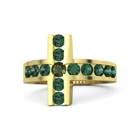 Round Green Tourmaline 14K Yellow Gold Ring with Alexandrite