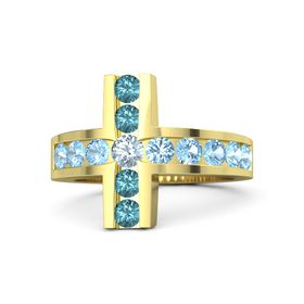 Round Aquamarine 14K Yellow Gold Ring with Blue Topaz & London Blue Topaz