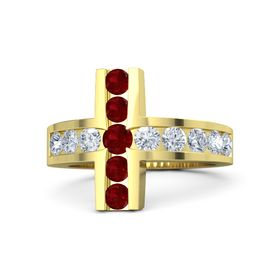 Round Ruby 14K Yellow Gold Ring with Diamond and Ruby