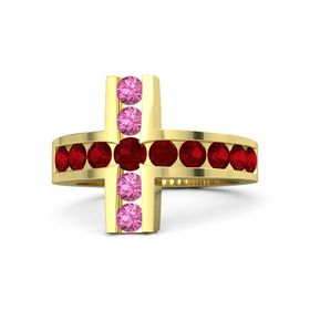 Round Ruby 14K Yellow Gold Ring with Ruby and Pink Tourmaline