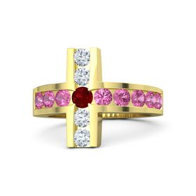Round Ruby 14K Yellow Gold Ring with Pink Tourmaline & Diamond