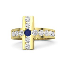 Round Sapphire 14K Yellow Gold Ring with White Sapphire