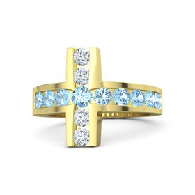 Round Blue Topaz 14K Yellow Gold Ring with Blue Topaz and Diamond