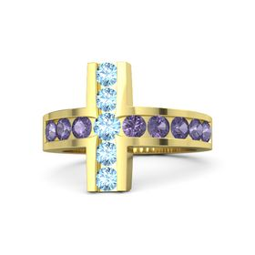 Round Blue Topaz 14K Yellow Gold Ring with Iolite and Blue Topaz