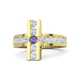 Round Iolite 14K Yellow Gold Ring with White Sapphire & Diamond
