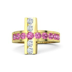 Round Pink Tourmaline 14K Yellow Gold Ring with Pink Tourmaline and Diamond