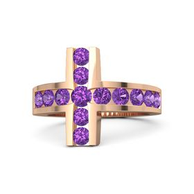 Round Amethyst 18K Rose Gold Ring with Amethyst