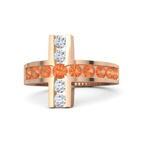 Round Fire Opal 18K Rose Gold Ring with Fire Opal and Diamond