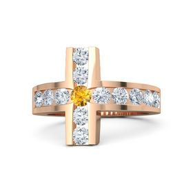 Round Citrine 18K Rose Gold Ring with Diamond