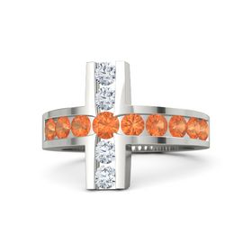 Round Fire Opal 18K White Gold Ring with Fire Opal and Diamond
