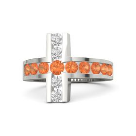 Round Fire Opal 18K White Gold Ring with Fire Opal and White Sapphire