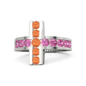 Round Fire Opal 18K White Gold Ring with Pink Tourmaline and Fire Opal
