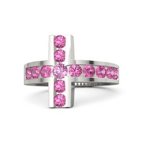 Round Pink Sapphire 18K White Gold Ring with Pink Tourmaline