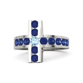 Round Blue Topaz 18K White Gold Ring with Blue Sapphire