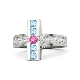 Round Pink Tourmaline 18K White Gold Ring with White Sapphire and Blue Topaz