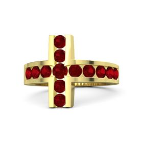 Round Ruby 18K Yellow Gold Ring with Ruby