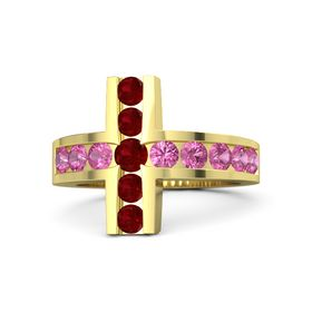 Round Ruby 18K Yellow Gold Ring with Pink Tourmaline and Ruby
