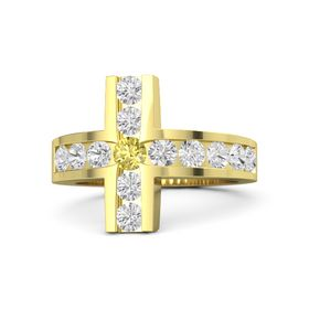 Round Yellow Sapphire 18K Yellow Gold Ring with White Sapphire