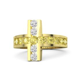 Round Yellow Sapphire 18K Yellow Gold Ring with Yellow Sapphire & White Sapphire