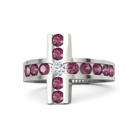 Round Diamond Palladium Ring with Rhodolite Garnet