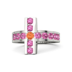 Round Fire Opal Palladium Ring with Pink Tourmaline