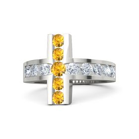 Round Citrine Palladium Ring with Diamond and Citrine