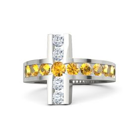 Round Citrine Palladium Ring with Citrine and Diamond