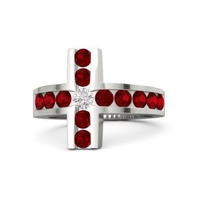 Round White Sapphire Palladium Ring with Ruby