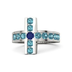 Round Sapphire Palladium Ring with London Blue Topaz
