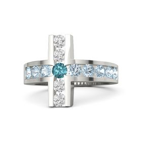 Round London Blue Topaz Platinum Ring with Aquamarine and White Sapphire
