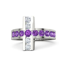 Round Amethyst Platinum Ring with Amethyst & Diamond