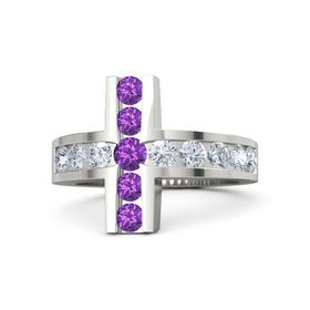 Round Amethyst Platinum Ring with Diamond and Amethyst