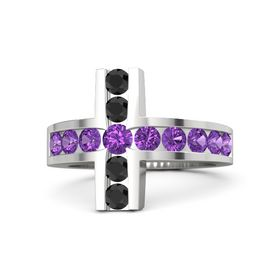 Round Amethyst Sterling Silver Ring with Amethyst & Black Diamond