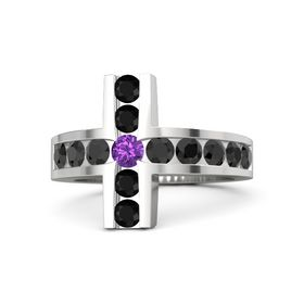 Round Amethyst Sterling Silver Ring with Black Diamond and Black Onyx