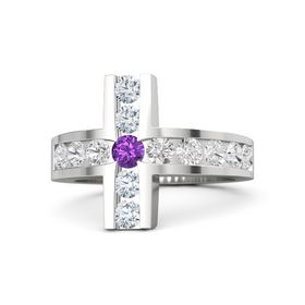 Round Amethyst Sterling Silver Ring with White Sapphire and Diamond