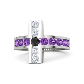 Round Black Diamond Sterling Silver Ring with Amethyst and Diamond