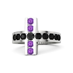 Round Black Diamond Sterling Silver Ring with Black Onyx & Amethyst