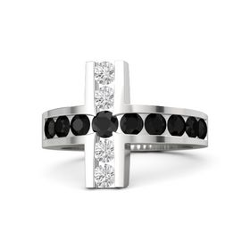 Round Black Diamond Sterling Silver Ring with Black Onyx & White Sapphire