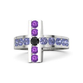 Round Black Diamond Sterling Silver Ring with Tanzanite & Amethyst