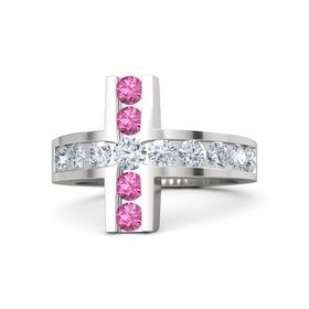 Round Diamond Sterling Silver Ring with Diamond and Pink Tourmaline