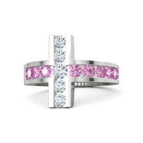 Round Diamond Sterling Silver Ring with Pink Sapphire & Diamond