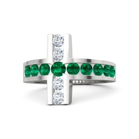 Round Emerald Sterling Silver Ring with Emerald & Diamond