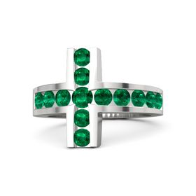 Round Emerald Sterling Silver Ring with Emerald