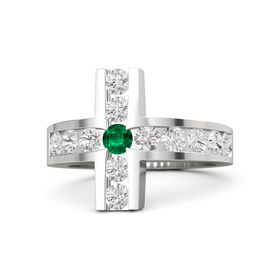 Round Emerald Sterling Silver Ring with White Sapphire