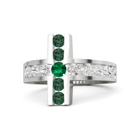 Round Emerald Sterling Silver Ring with White Sapphire and Alexandrite