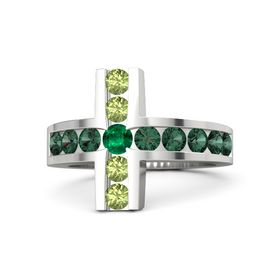 Round Emerald Sterling Silver Ring with Alexandrite & Peridot