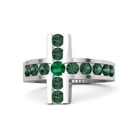 Round Emerald Sterling Silver Ring with Alexandrite