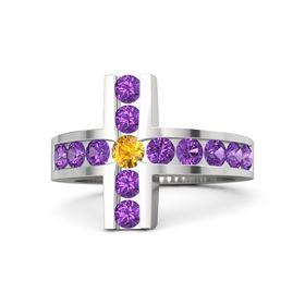 Round Citrine Sterling Silver Ring with Amethyst